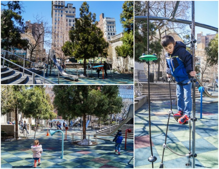 Playing on Evelyn's Playground in Union Square, New York City.
