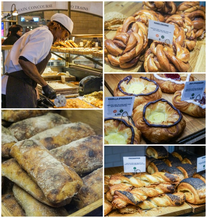 A collection of pastries (Wienerbrød) on display at the Great Northern Food Hall.