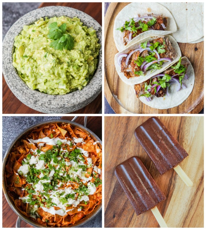 Other dishes from Nopalito: Guacamole, Tacos de Cochinita (Marinated Shredded Pork Tacos), Chilaquiles Rojos con Huevos (Red Chilaquiles with Scrambled Eggs), and Paletas de Chocolate (Chocolate-Cinnamon Popsicles).