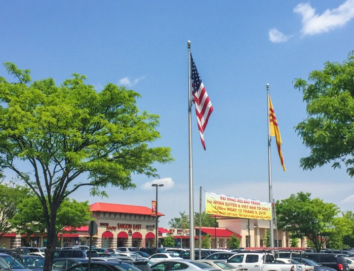 Eden Center in Falls Church with view of parking lot and two flags.
