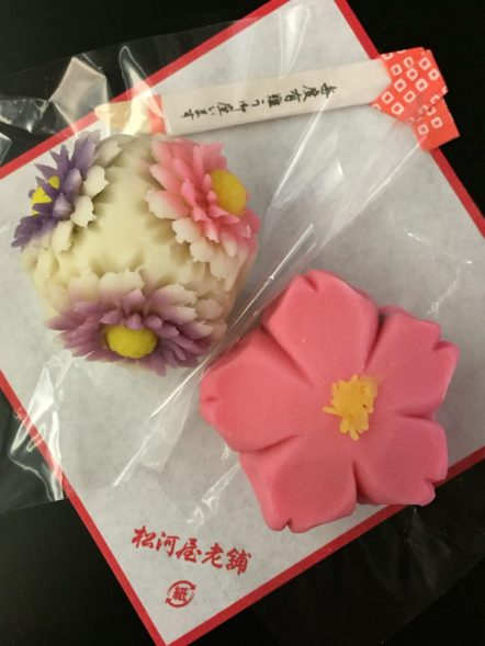 Wagashi in the shape of flowers from Matsukawaya at Union Market