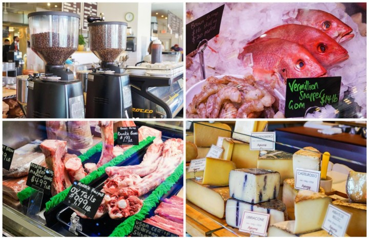 Stands at Union Market- coffee beans, snapper on ice in a display case, oxtails, and stacks of cheese.