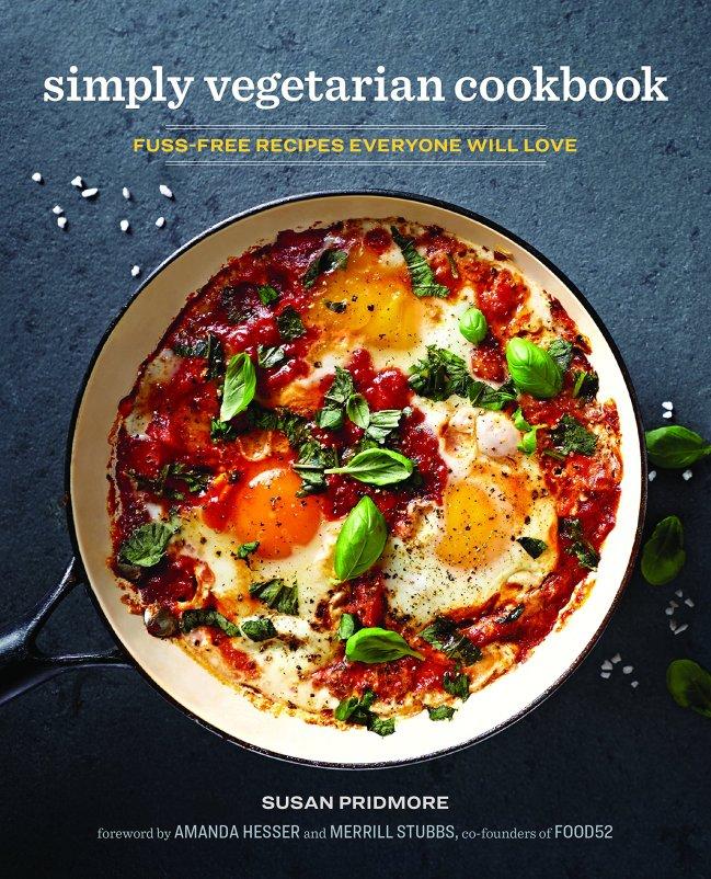 Cookbook cover- Simply Vegetarian Cookbook: Fuss-Free Recipes Everyone Will Love.