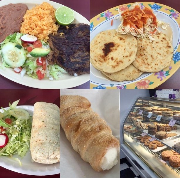 Collage of food- meat, pupusas, burrito, and pastries at La Mexicana Bakery.