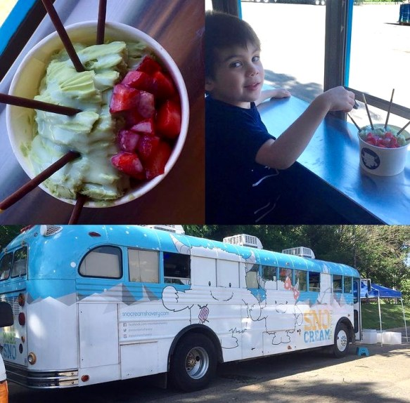 Large white and blue bus and eating green tea ice cream with strawberries at SnoCream.