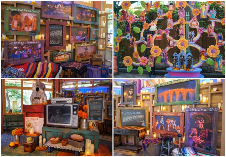Decorations from the movie Coco- family photos, ofrenda, flowers