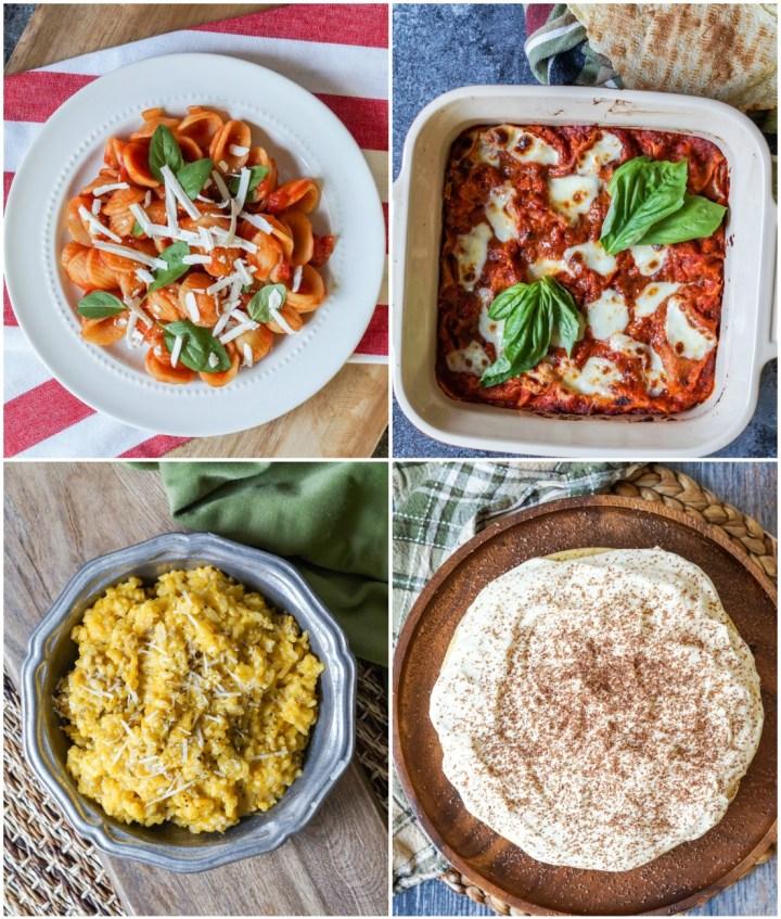 Other dishes from Gennaro's Fast Cook Italian- Orecchiette con Salsa al Pomodoro e Ricotta Salata (Orecchiette Pasta with Tomato and Ricotta Salata), Lasagne al Pane Carasau (Tomato and Ricotta Lasagne with Pane Carasau), Risotto con Salsiccia (Sausage Risotto), and Torta al Tiramisu (Tiramisu Cake).