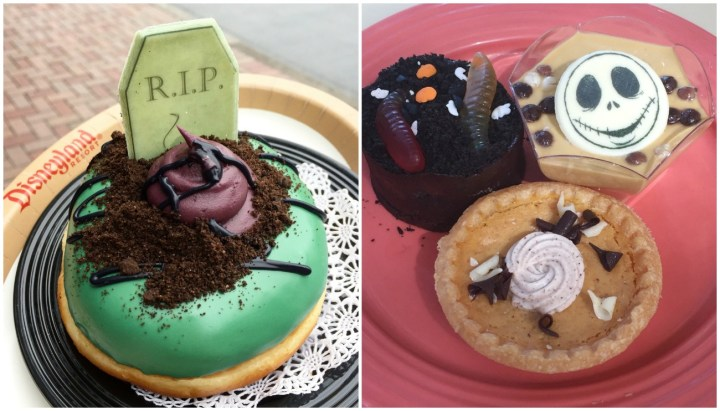 Halloween Treats at Disneyland- Doughnut with green glaze, chocolate crumbs, and R.I.P. on top. Pie trio with Jack Skellington and Gummy Worms