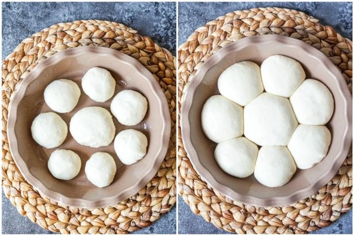 Placing the unbaked Pampushky (Ukrainian Garlic Bread) rolls in the tan pie dish.
