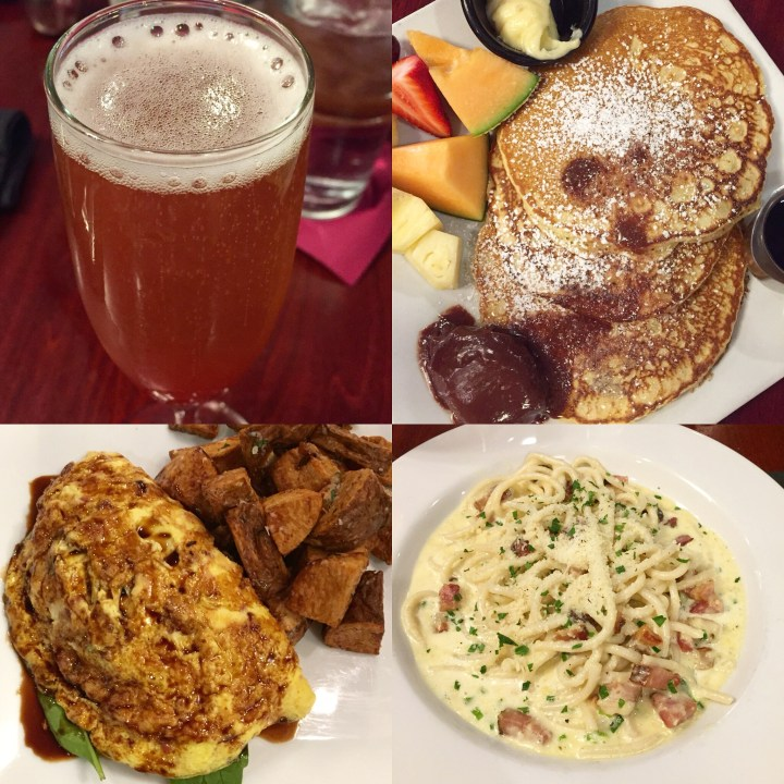 Bellini, pancakes, omelet, and pasta at Lavagna