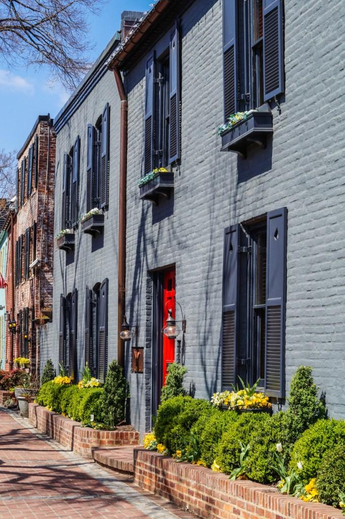 Buildings lining the sidewalk at Georgetown