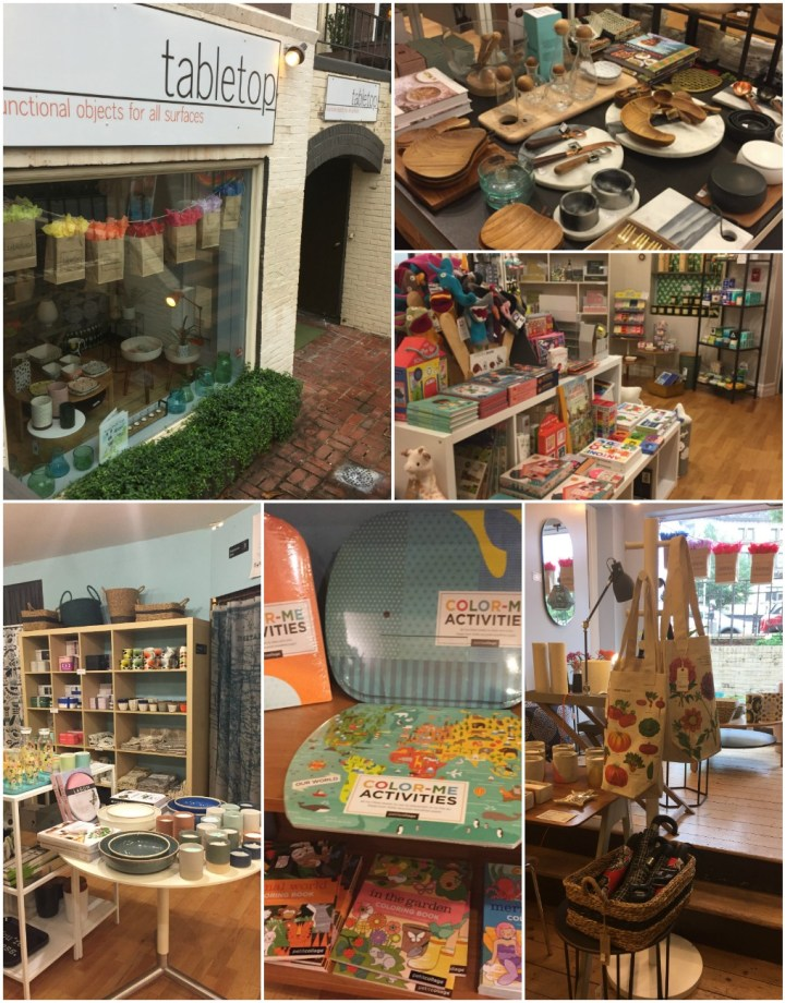 Entrance and interior of Tabletop store with kids crafts, dishes, and home goods.