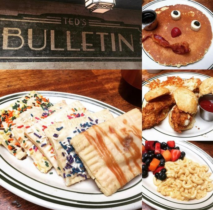 Tarts, pancakes, fried chicken, and Mac and cheese at Ted's Bulletin.
