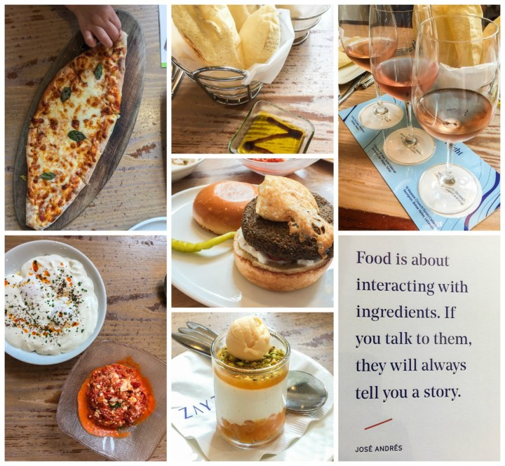Dishes at Zaytinya with a photo of the menu cover: Food is about interacting with ingredients. If you talk to them, they will always tell you a story. -José Andrés.