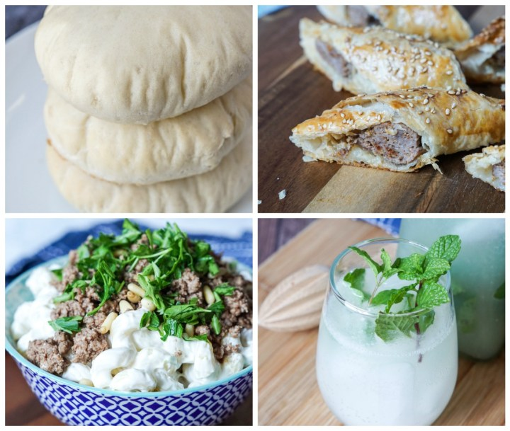 Other dishes from Baladi- Khubez (Pita Bread), Spicy Sujuk Puffs with Sesame Seeds, Ma'carona bil Lahmeh (Macaroni with Tangy Yogurt and Spiced Ground Lamb), and Mint and Lime Juice.