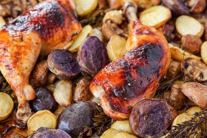 Balsamic Chicken with Baby Potatoes and Mushrooms