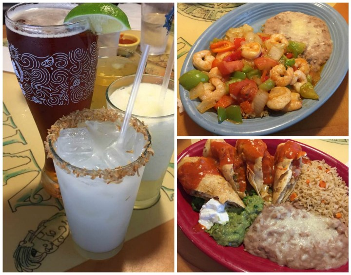 Mariscos Altamar Coconut Margarita, shrimp with beans and rice