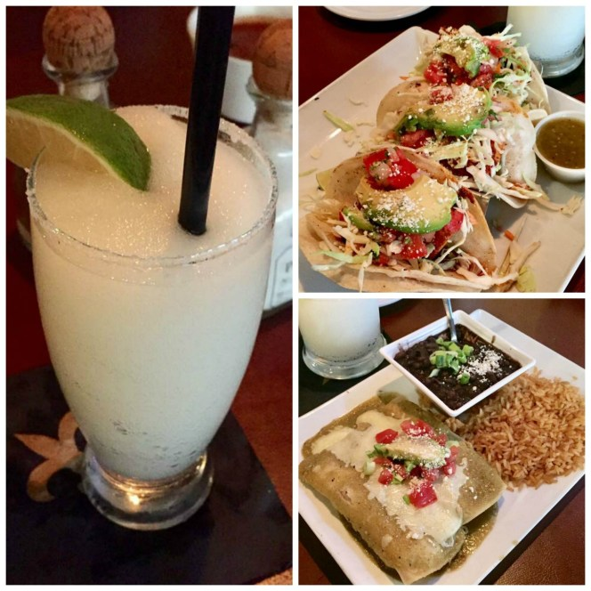 Margarita, enchiladas, and tacos from Mestizo Louisiana Mexican Cuisine.