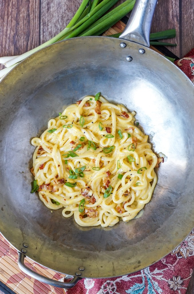 Miso Carbonara Udon in a large wok