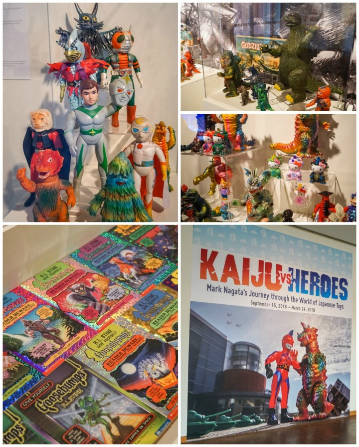 Kaiju vs Heroes: Mark Nagata's Journey through the World of Japanese Toys. September 15, 2018-March 24, 2019. Collection of Action Figures, Godzilla, and Goosebumps covers.