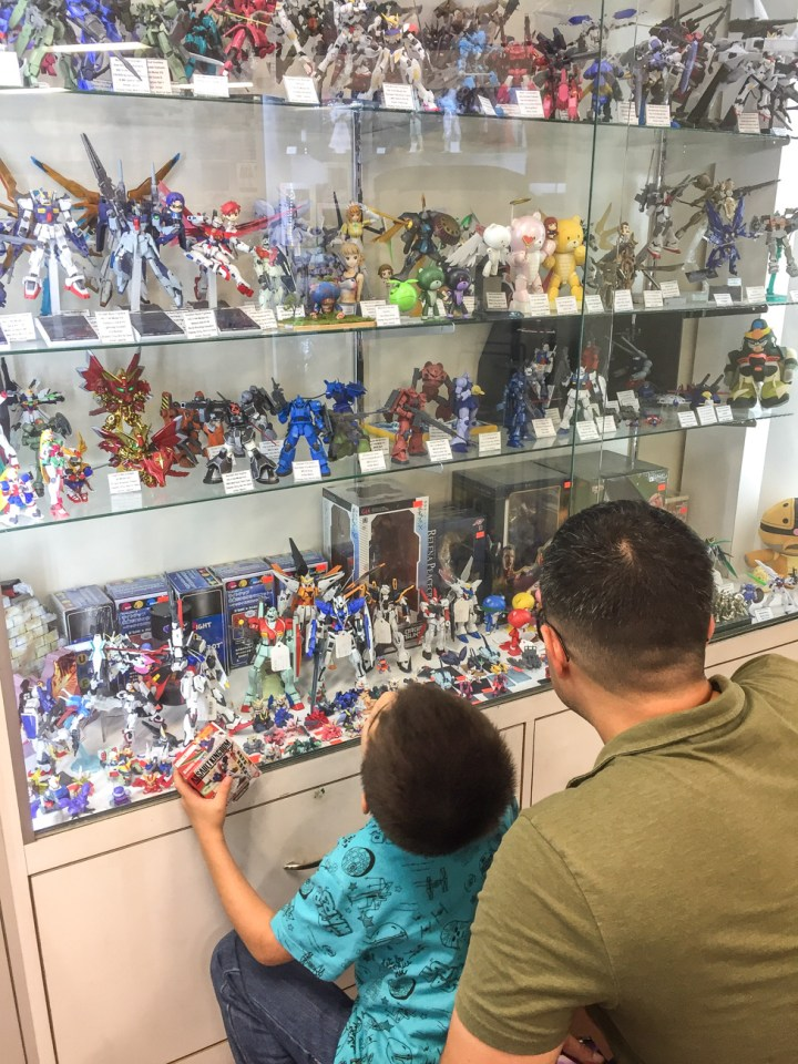 Looking at the action figures in the display case