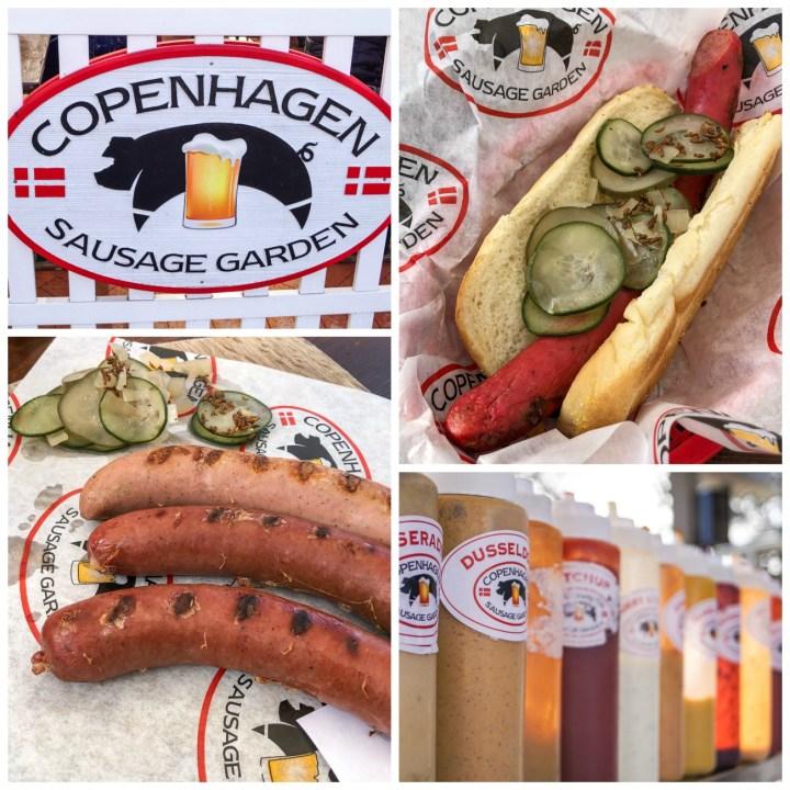 Copenhagen Sausage Garden- three sausages next to pickles, Danish red sausage in a hotdog, condiment bottles lined up.