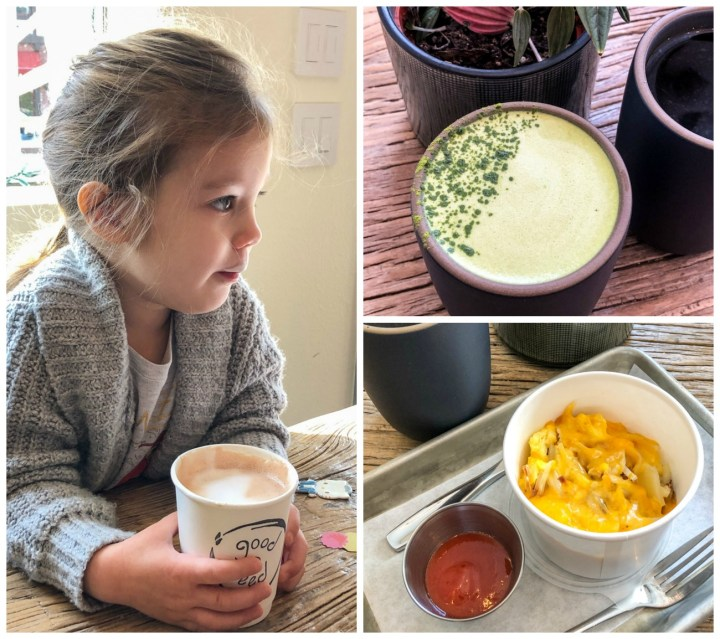 Good Seed Coffee Boutique- hot chocolate, matcha latte, and breakfast bowl with ketchup.