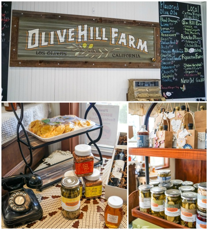 Inside Olive Hill Farm- Los Olivos, California. Sign of featured flavored olive oils and local extra virgin olive oils. Pickles, pasta, and gift bags on display.