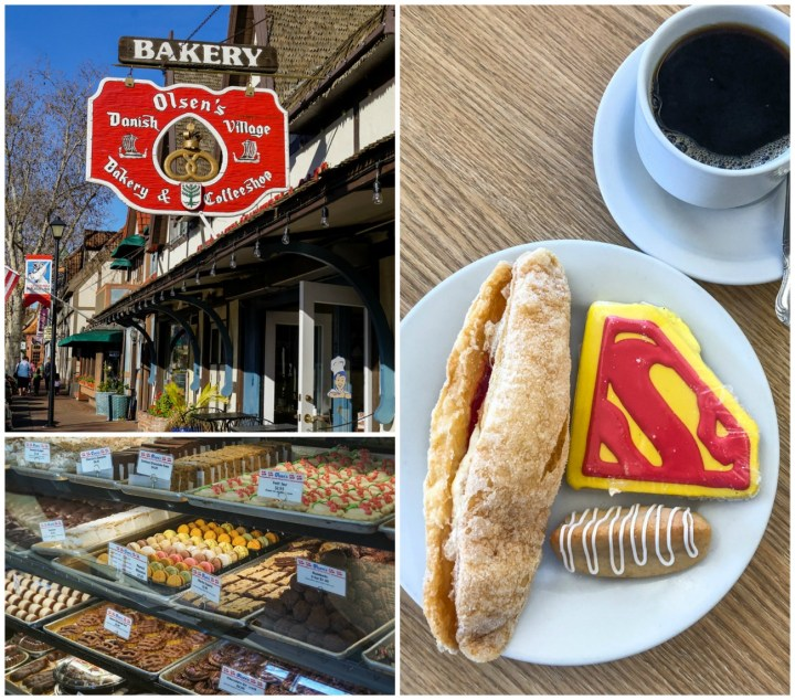 Olsen's Danish Village Bakery with building entrance, pastries lining a display window, and a plate of pastries, superman cookie, and cup of coffee on a wooden table.