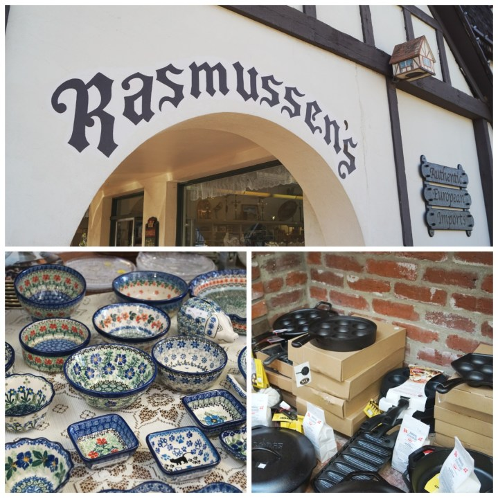 Entrance to Rasmussen's with Polish pottery and cast iron skillets.