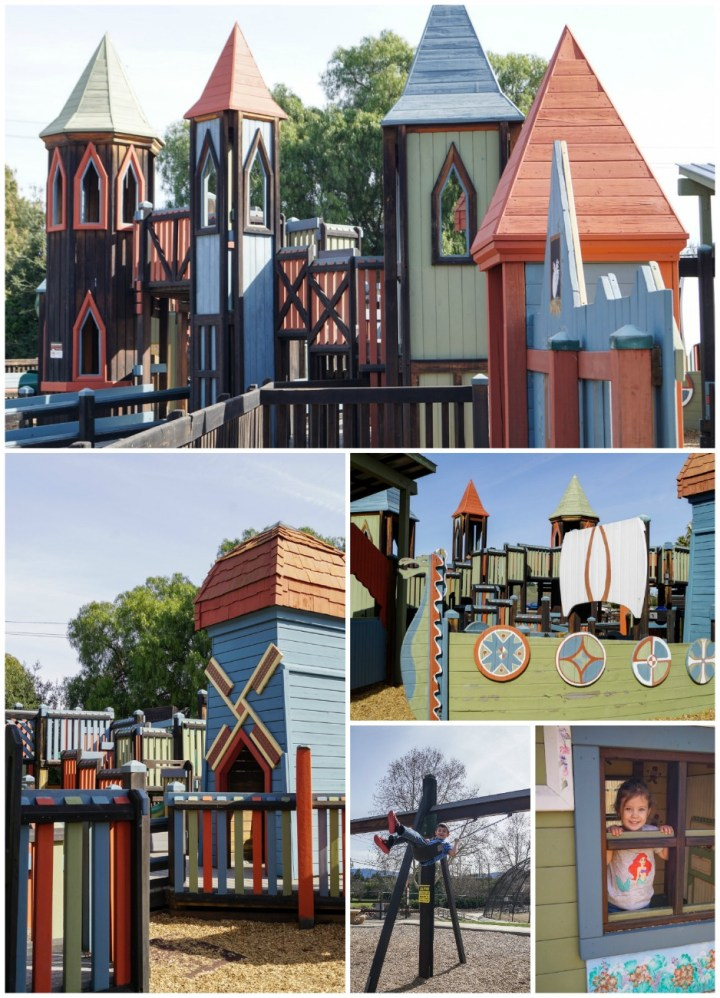 Play equipment shaped like castle and viking boat at Sunny Fields Park.