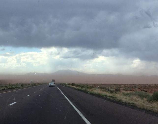 Dust storm on the road