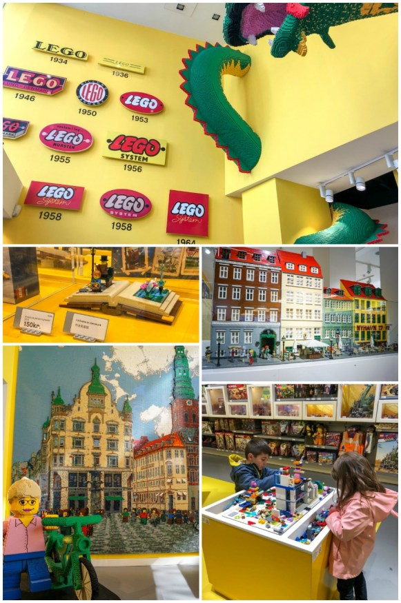 Legos and Copenhagen landmarks built from Legos inside the Lego store
