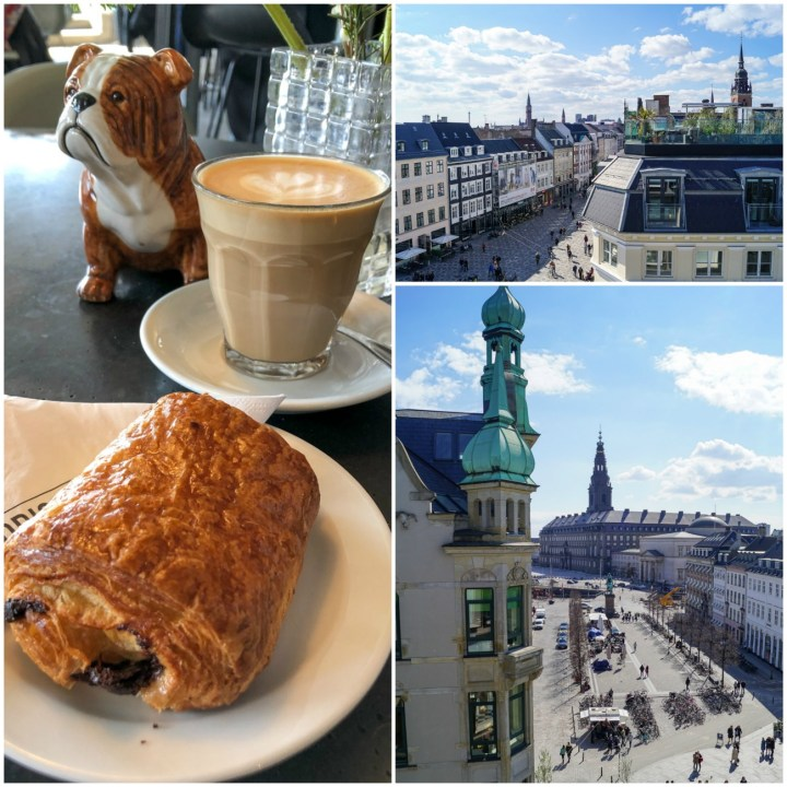 Chocolate croissant, coffee, and views from the rooftop of Original Coffee