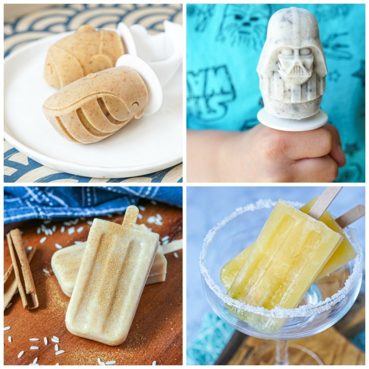 Four photo collage- Chocolate Chip Cookie Dough, Cookies and Cream, Horchata, and Margarita Popsicles.