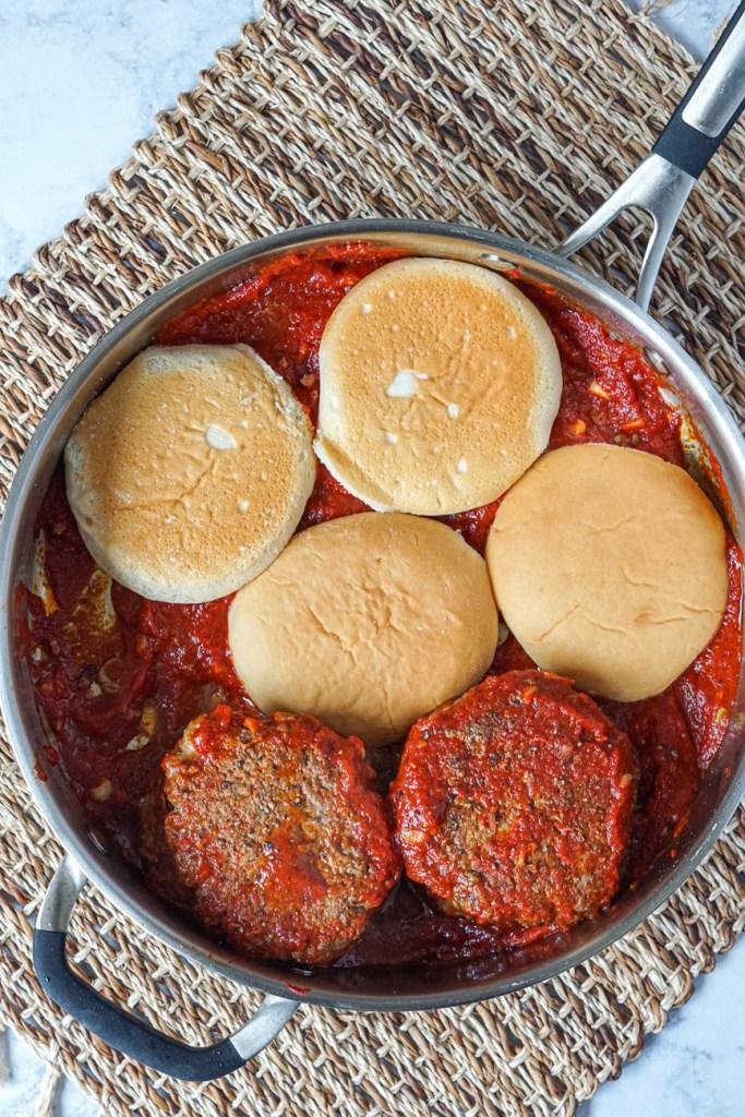 Islak Burger in a pan