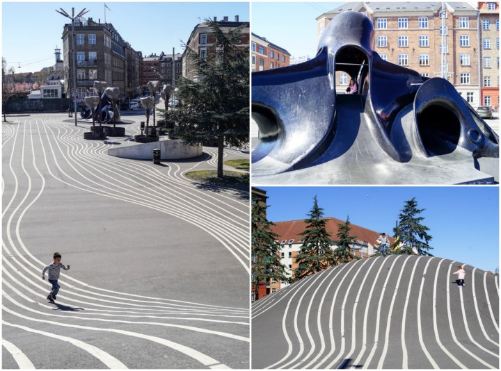 Black octopus playground at Superkilen, black pavement with long white lines.