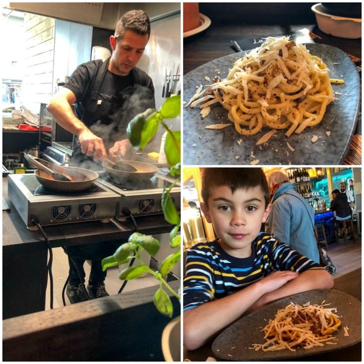 Making homemade pasta in a pan at La Baracca, Carbonara.