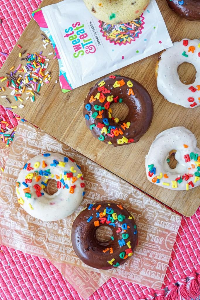 Chocolate and Vanilla Baked Funfetti Doughnuts