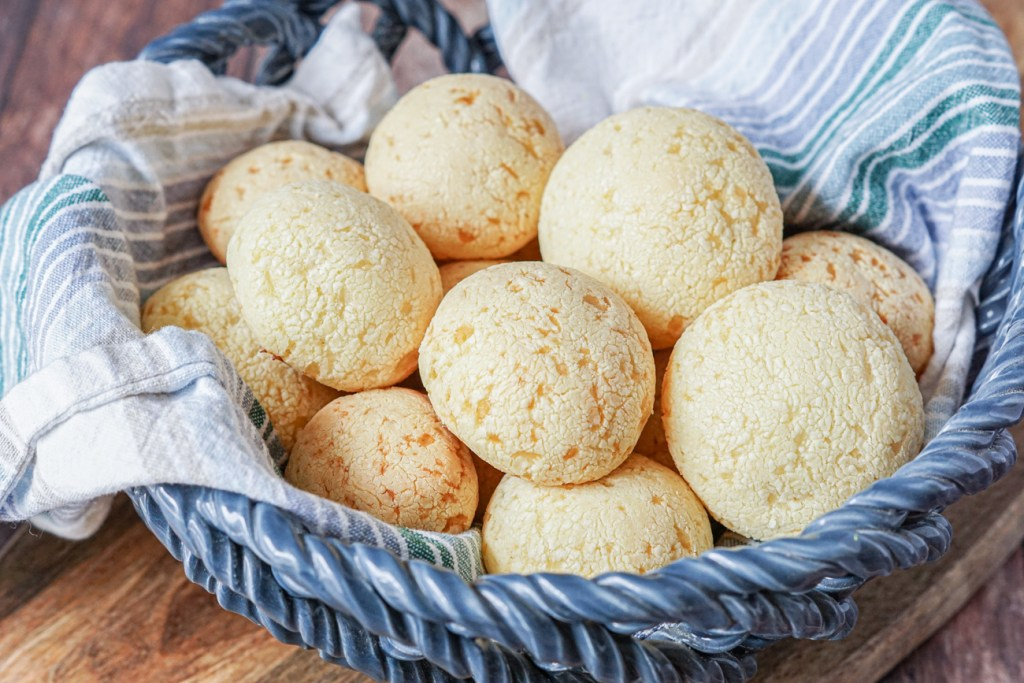 Japanese Mochi Cheesebreads in a basket