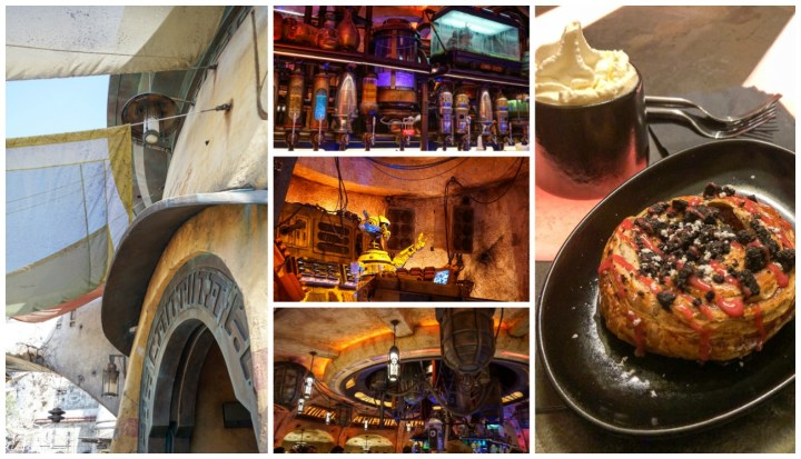Mustafarian Lava Roll at Oga's Cantina, drinks lined up against the wall, entrance to the cantina.