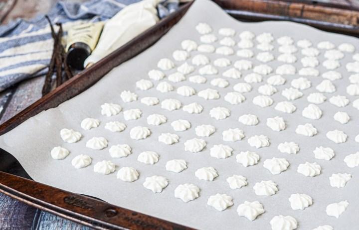 Vanilla Bean Frozen Yogurt Drops on a baking sheet