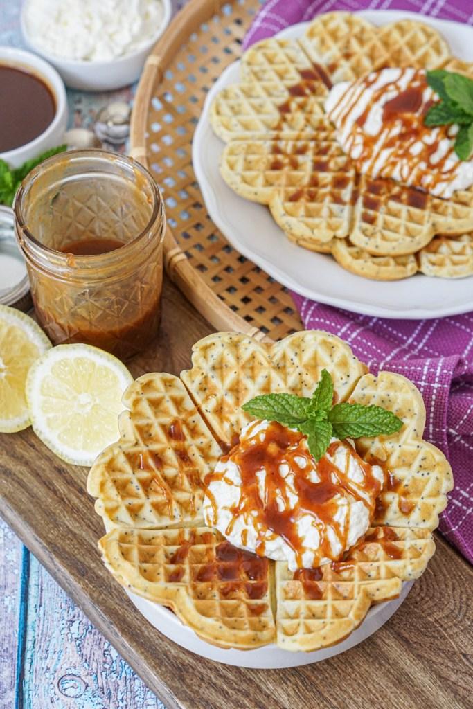 Birkesvafler (Poppy Seed Waffles) with caramel sauce