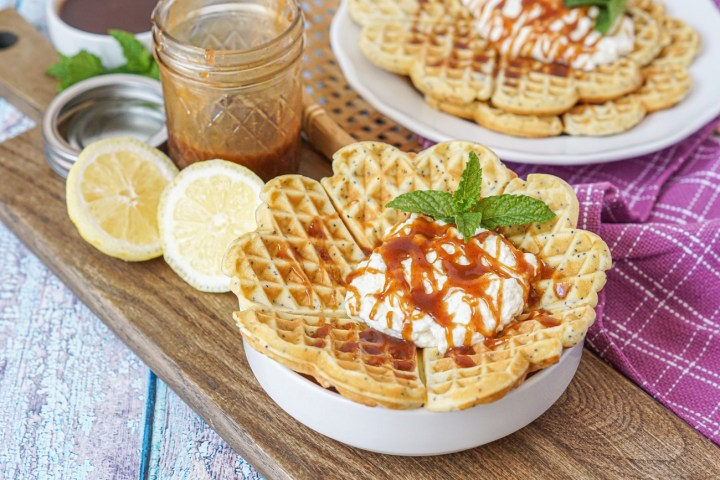 Birkesvafler (Poppy Seed Waffles) with whipped cream and caramel sauce