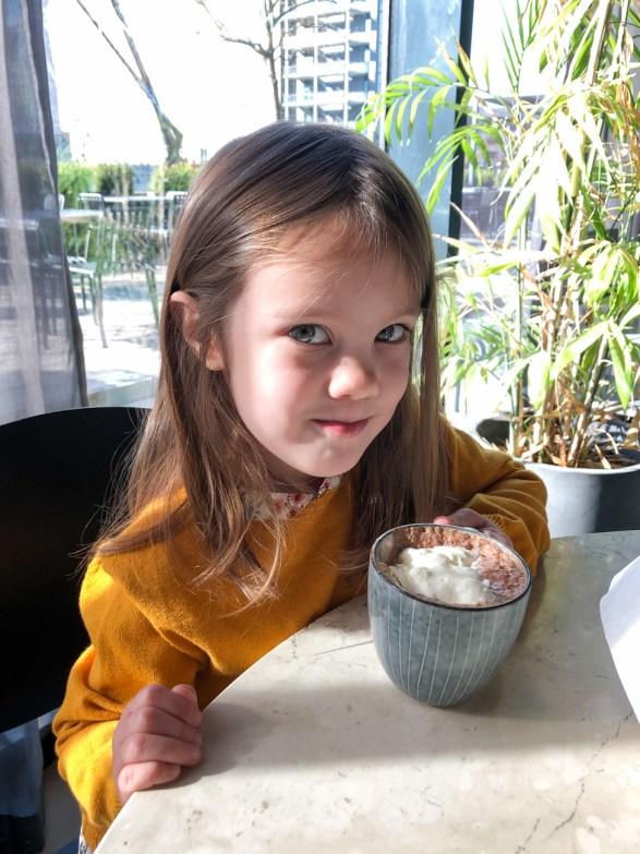 Drinking hot chocolate at Wulff & Konstali.