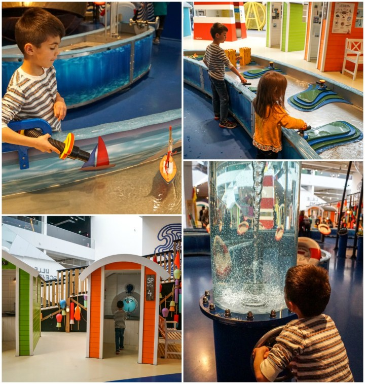 Playing at the beach exhibit in Experimentarium