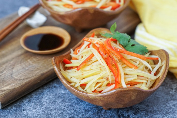 Shredded Potato and Red Bell Pepper with Black Vinegar in a bowl