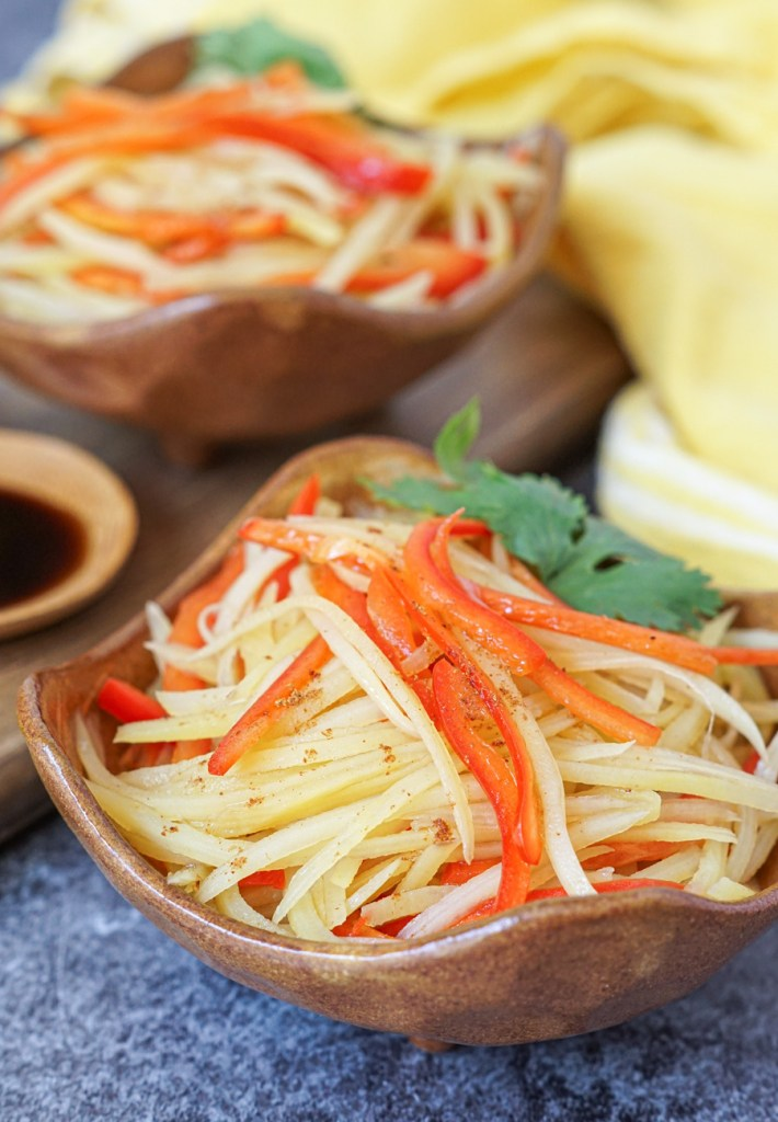 Shredded Potato and Red Bell Pepper with Black Vinegar with five spice powder