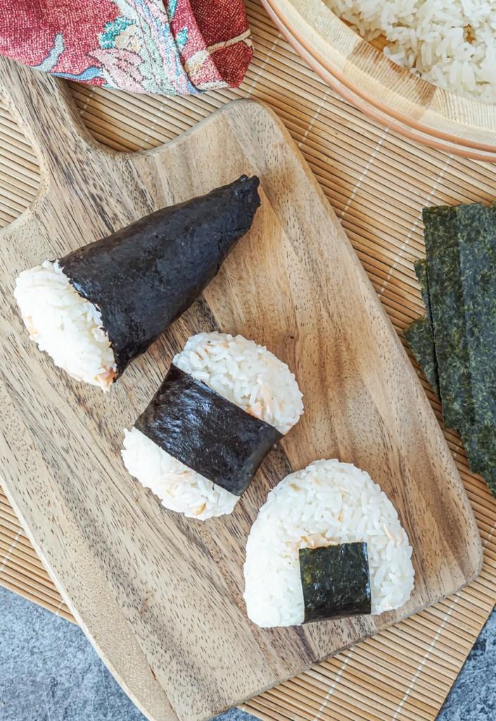 Aerial view of Sake Onigiri (Salmon Rice Balls)