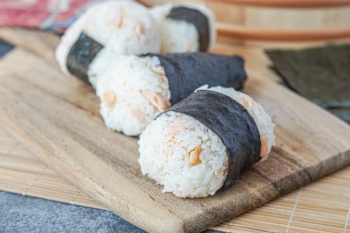 A variety of Sake Onigiri (Salmon Rice Balls)